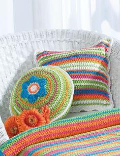 FREE PTRN DOWNLOAD: EASY CROCHET.  'Patio Pillows'. YRN: Bernat Handicrafter Cotton | Main Color (MC) White, 0000 8ea; Contrast A 2ea; Contrast B 2ea; Contrast C 2ea;; Contrast D 2ea.  SIZE: Square Pillow: Approx 14 ins (35.5 cm) square. Round Pillow: Approx 12 ins (30.5 cm) diameter. Yarnspirations