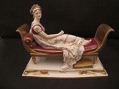 Antique German Dresden Porcelain Madame Recamier Figure Jacques-Louis David
