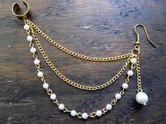 Pearl chain ear cuff, ear cuff earring, chain ear cuff. $18.00, via Etsy.