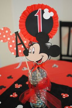 """Center piece Photo 8 of 9: Mickey Mouse / Birthday """"Mickey Mouse 1st Birthday"""" 