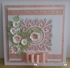 Another card using Sue Wilson's Sydney die. The flowers are made using the Cheery Lynn Sweet Williams die. Sue Wilson, 90th Birthday Cards, Cumpleaños Diy, Cards For Friends, Friend Cards, Embossed Cards, 3d Cards, Marianne Design, Mothers Day Cards