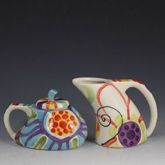 Floral Cream and Sugar Set -Jubilation Funky Cream & Sugar- Colorful Stripe Floral Pottery Serving Cottage Chic Home Decor Fun Gifts J-374