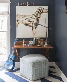 Deep blue kids bedroom, designed by Laura Burleson, via @sarahsarna.