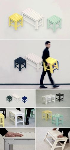 De-dimension by Jongha Choi: Furniture that folds flat. Cute concept but not durable with all those joints.