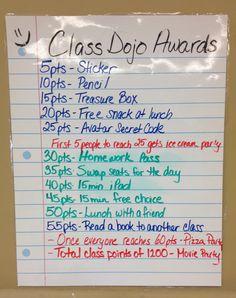 Class dojo awards for my 6th grade