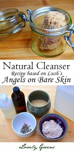 Recipe for a gentle and natural soap-less facial cleanser based on Lush's popular 'Angels on Bare Skin' - it's easy to make and cleans your skin without overdrying! #beauty #naturalfacialcleanser
