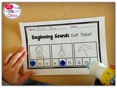 Beginning Sound Exit Tickets in Kindergarten