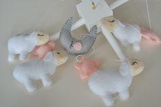 Pink Sheeps Baby Mobile Crib Mobile Nursery Decor by TheMemis, $85.00