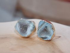 Geode Earring Electroplated in Gold: Geode by MalieCreations