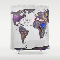 Star map. Never stop exploring... Shower Curtain by Guido Montañés - $68.00