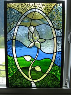 Romantic Bevelled Rose stained glass and mosaic rectangular window