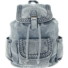 Denim Plait Backpack ($39) ❤ liked on Polyvore featuring bags, backpacks, accessories, mochilas, blue drawstring backpack, blue drawstring bags, woven bag, denim rucksack and blue backpack