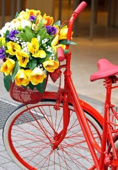 red bike with colorful flowers Love Flowers, Colorful Flowers, Beautiful Flowers, Yellow Flowers, Spring Flowers, Old Bicycle, Bicycle Art, Bicycle Basket, Bicycle Design