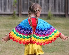 Pretend Play Rainbow Wings - Childrens Costume Wings - Colorful Bird Kid Costume - 2 yrs to 5 yrs - Little Bird Costume - Imaginative Play