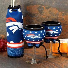 Denver Broncos Wine Bottle & Glasses 3-Piece Woozie Set