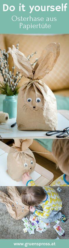 DIY Anleitung um einen süßen Osterhasen aus einer simplen Papiertüte zu basteln. Basteln mit Kind, für's Kind. Osternest, Ostern. einfach und schnell. Do it yourself.