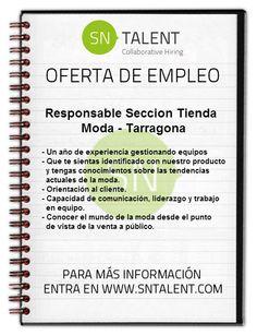 #Responsable Seccion Tienda #Moda en #Tarragona
