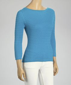 Look what I found on #zulily! Caribbean Blue Cable Knit Silk-Blend Sweater by In Cashmere #zulilyfinds