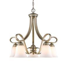 """View the Golden Lighting 8107-D5 Torbellino 5 Light 1 Tier 24.75"""" Wide Chandelier at LightingDirect.com."""