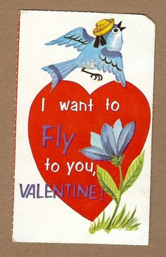 VINTAGE VALENTINE CARD Bluebird wears Hat Heart Flower #GreetingCard