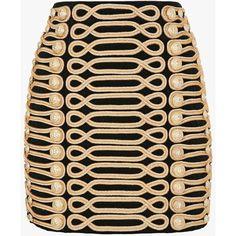 Mini-jupe en velours de coton à passementerie | Jupes Femme | Balmain (£250) ❤ liked on Polyvore featuring skirts, mini skirts, balmain, balmain skirt, short mini skirts, military skirt and mini skirt