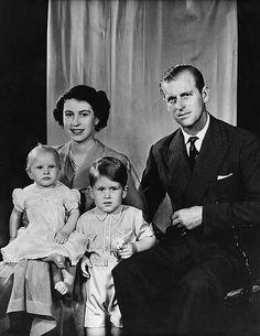 The Princess Elizabeth, The Duke of Edinburgh, Princess Anne, and Prince Charles, 1951.