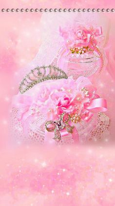 Pink Shabby Chic Wallpaper... By artist Unknown...