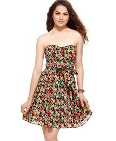 American Rag Dress, Strapless Belted Fruit Print Sweetheart A-Line - Juniors Dresses - Macy's