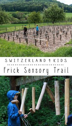 Theme trail for children with 8 interactive stations focused on the five senses. It's an easy km loop through a lush valley, cutting through farm fields and forests. Land Art, Forest School, Water Play, Picnic Area, Garden Care, Hiking Trails, Maze, Switzerland, Pond