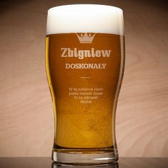 Grawerowana szklanka do piwa DOSKONAŁY Malm, Beer, Tableware, Glass, Root Beer, Dinnerware, Drinkware, Dishes, Corning Glass