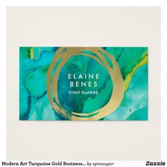 Shop Modern Art Turquoise Gold Business card created by spinsugar. Art Business Cards, Gold Business Card, Art Carte, Bussiness Card, Texture Painting, Watercolor Texture, Watercolor Background, Watercolor Art, Logo Color