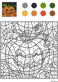 ausmalbild malen nach zahlen: halloween: kürbisse ausmalen kostenlos ausdrucken   herbst