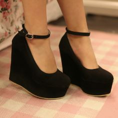 e7893ee065f creamypink yes Style classic black wedges Closed-toe Wedges Closed-toe  Wedges from stylishplus