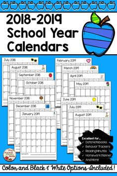 Classroom Calendars FREEBIE for the 2018-2019 School Year. Great for data notebooks, behavior trackers, and more!