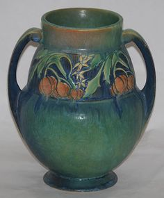 Roseville Pottery Baneda Green Vase For Sale | Antiques.com | Classifieds