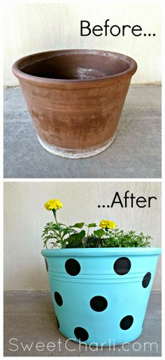 DIY Polka Dot Flower Pot.  Recycle an old terra cotta pot into a new, happy one!