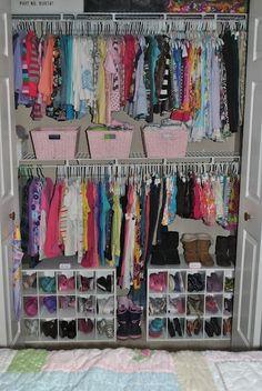 Kid Closet, Closet Ideas, Closet Space, Room Closet, Shared Closet, Kids Room Organization, Organizing Kids Shoes, Organize Kids, Organizing Girls Rooms