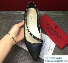 Valentino Sheepskin Rockstud Ballerina Sandals Black 2017