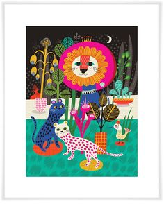 children Illustration Giclee Print - Midnight Madness limited edition giclee print of an original illustration x 10 in) Abstract Animal Art, Helen Dardik, Deco Boheme, Creative Workshop, Art Wall Kids, Wall Sticker, Wall Decals, Canvas Wall Art, Giclee Print