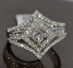 PRINCESS CUT SOLITAIRE DIAMOND WEDDING RING SET 1.4CT WHITE GOLD 3 IN 1 HALO #PrincessCutDiamonds #diamondweddingrings