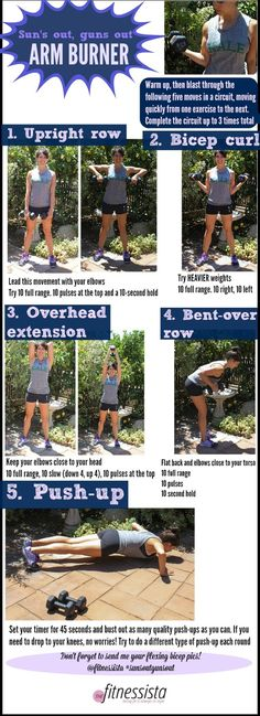 Suns out guns out arm burner. A fast and furious workout to strengthen your entire upper body! I LOVE a good arm workout and this is good. Fitness Diet, Fitness Motivation, Health Fitness, Pilates, Sweat It Out, Yoga, I Work Out, Hard Work, Get In Shape