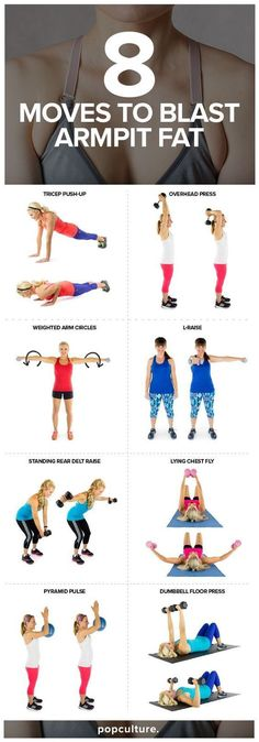 8 Exercises to Blast Armpit Fat. That moment where you notice some fat or skin squishing out the side of your bra, right between your breast and arm. Armpit fat is common because it's a very hard area to spot-reduce fat. However, you can work on tightening and strengthening muscles around your armpits. Popculture.com #popculture #armpitfat #armworkout #workouttoburnfat #athomeworkout #fitness