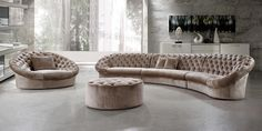 Divani Casa Cosmopolitan Sectional Sofa Chair and Ottoman