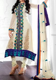 Stylish Combination Salwar Suit Choori Pajama Cotton Neck Design