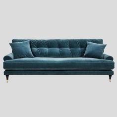 Petrol velvet sofa, Scandinavian design