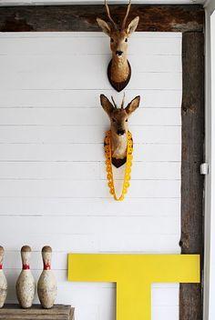 white yellow deer
