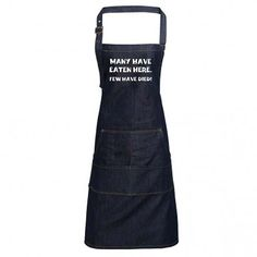 Fun Denim Cooking / BBQ Bib Apron, Many Have Eaten Here, Few Have Died, Unisex Bib Apron, Aprons, Unique Gifts For Dad, Heat Press, Indigo, Bbq, Dads, I'm Awesome, Unisex