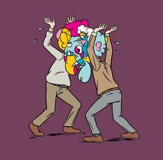 Cubists Fighting tshirt design