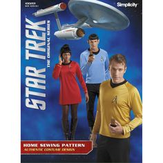 Sew these pullover dresses and or tops seen in the Star Trek original series. Whether you want to dress like Captain Kirk, Spock, or as a female Starfleet officer, this pattern includes all styles.