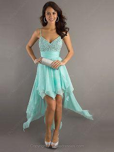 A-line Spaghetti Straps Chiffon Asymmetrical Beading Prom Dresses